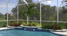 Pool with Raised Sheer Descent Planter