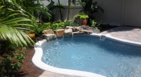 Freeform Pool with Rock Landscaping