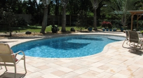 Kidney Pool With Travertine