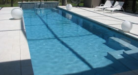 Lap Pool with Travertine