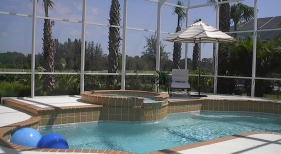 Geometric Pool with Raised Spa